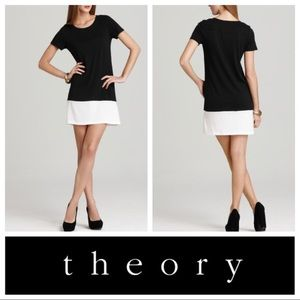 Theory gena CB color block black and white dress